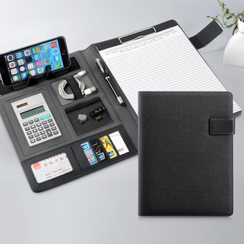 File Organizer Portfolio Folder Document Bags PU Leather Notepad Multifunction Card Holder Pen File Clip Calculator Memo notepad