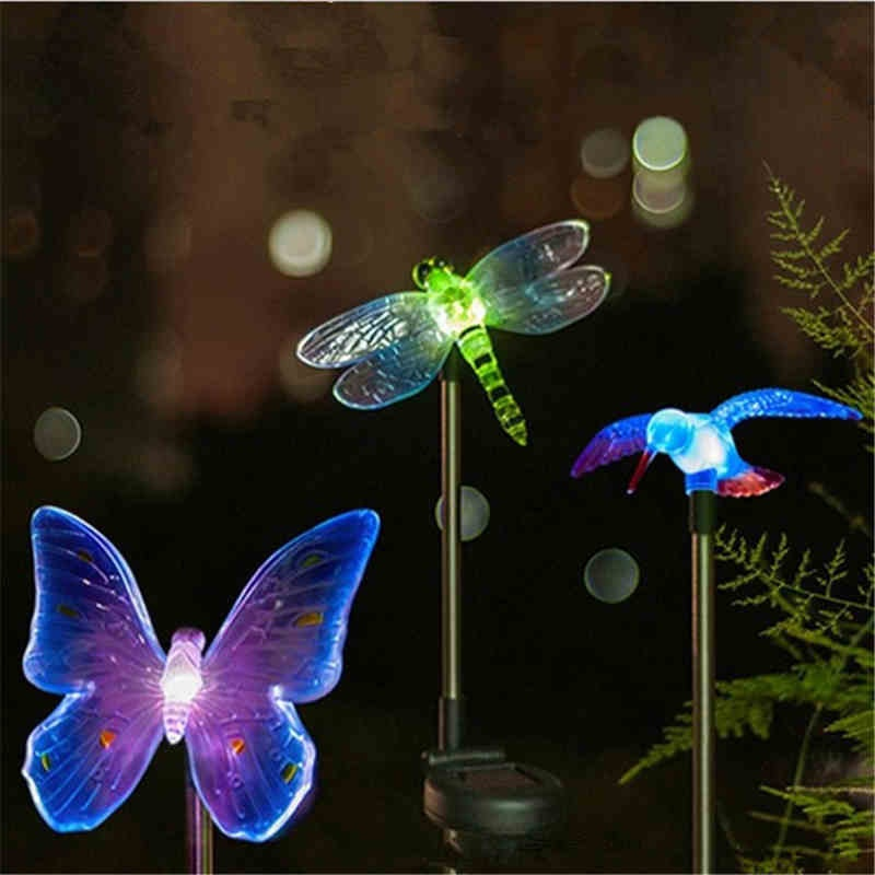 HENYNET Solar Energy LED Waterproof Light Colorful Butterfly Dragonfly Bird Courtyard Lawn Light Outdoor Decorative Light