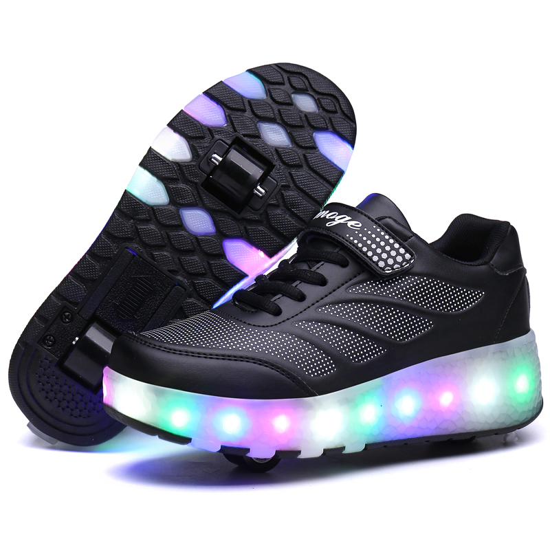 Heelys LED Light Sneakers With Double TWO Wheel Boy Girl Roller Skate Casual Shoe With Roller Girl Zapatillas Zapatos Con Black