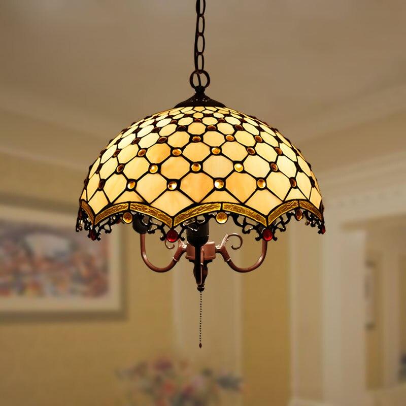 Tiffany barok retro vitray kolye işık restoran yatak odası oturma odası koridor sundurma lamba|Kolye ışıkları|   -