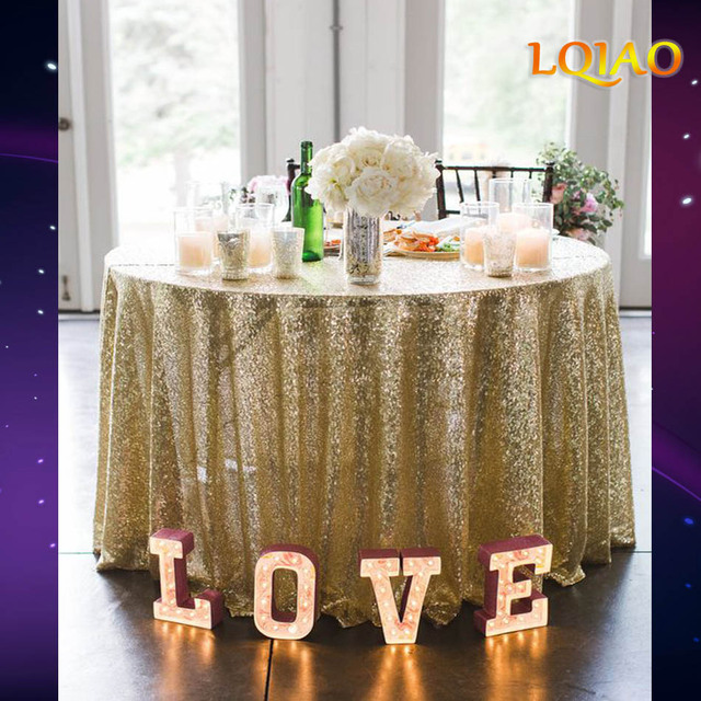 907a72b22dc40 Light Gold Sequin Embroidery Tablecloth For Wedding Hotel Party Sparkling Table  Cloth 120 Round Table Cover Decor Table Overlay