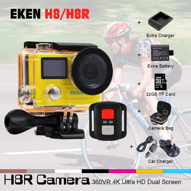 EKEN H8R H8 Action Camera VR360 Ultra 4K/30fps 14MP 2.0Dual Dual LCD Mini Cam Go 30M Waterproof Pro Sports Camera Camcorder eken h8 h8r ultra hd 4k 30fps wifi action camera 30m waterproof 12mp 1080p 60fps dvr underwater go helmet extreme pro sport cam