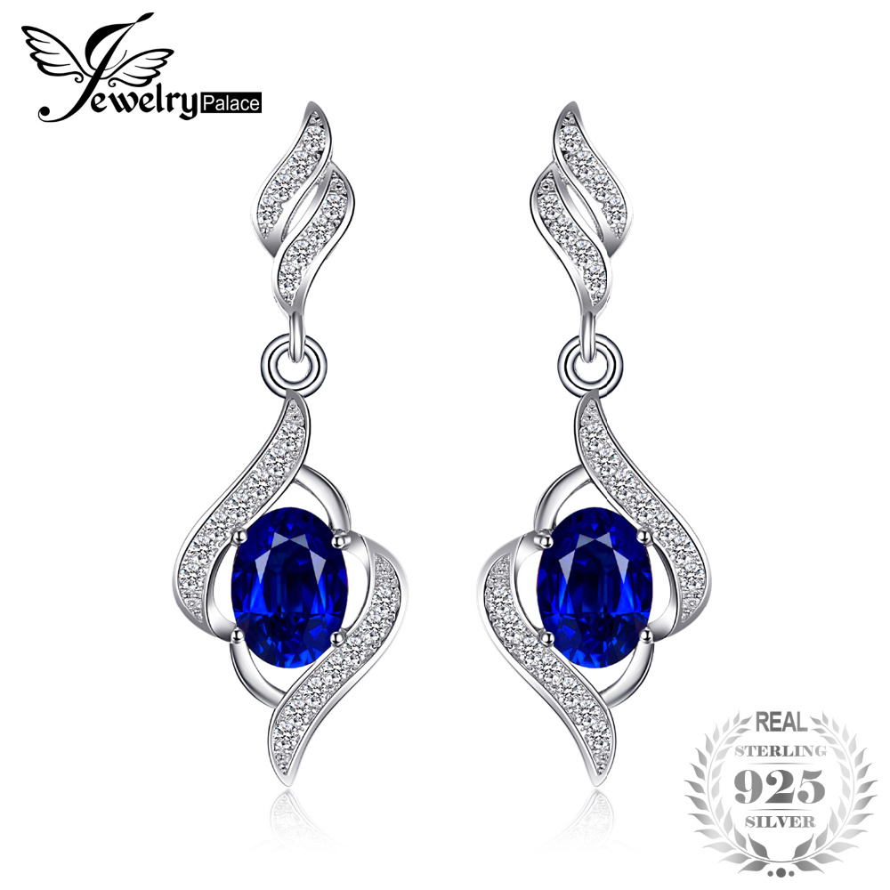JewelryPalace 2.2ct Created Blue Sapphire Dangle Earrings Genuine 925 Sterling Silver Jewelry For Women 2018 Fashion Jewelry все цены