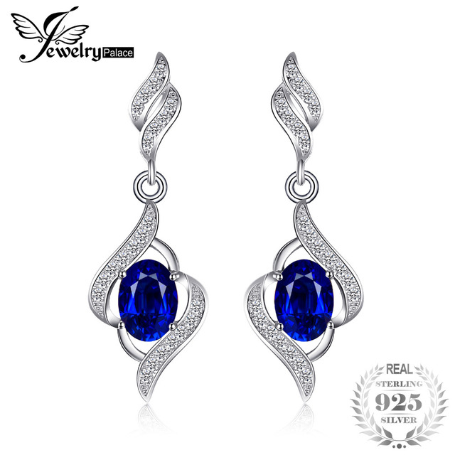 JewelryPalace Dangle Earrings For Women 2.2ct Created Blue Sapphire Genuine 925 Sterling Silver Jewelry 2019 Fashion Gifts