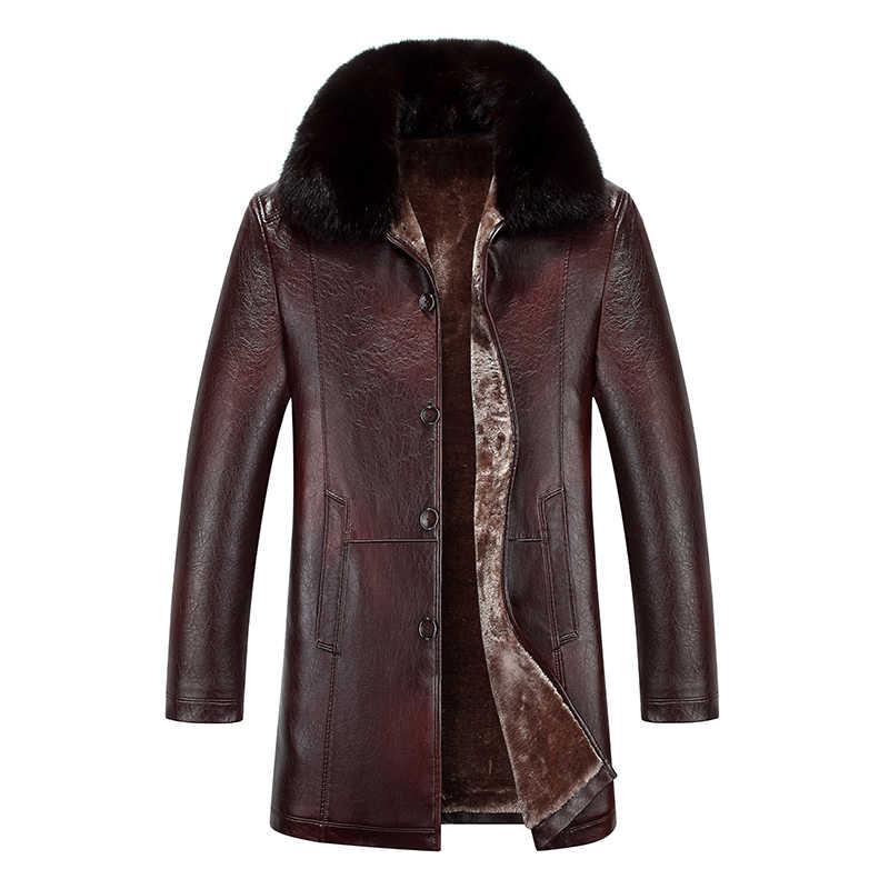 2019 Uomini di Alta Qualità Cappotto di Pelle Faux Cappotto di pelle di Pecora di Inverno Mens Giacca di Pelle Soprabito Tosatura Delle Pecore Cappotto di Pelle Per Gli Uomini
