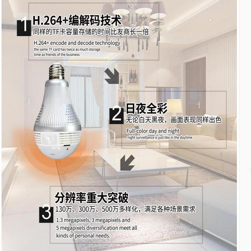 Wifi Panoramic 360 degree Light bulb Camera - CCTV Smart Home Security Bulb wifi camera 2