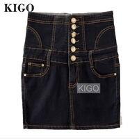 KIGO Women Black Denim Skirts High Waist Sexy Bodycon Pencil Skirt Plus Size Women Skirt Pocket