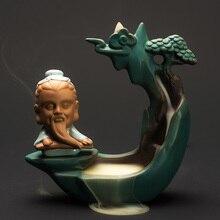 PINNY Old Man Play The Piano Incense Burner Ceramic Creative Backflow Holder Zen Decor Crafts Sandalwood Censer