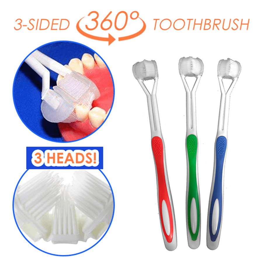 New Special Needs 3 Sided Toothbrush Interdental Brush 360 Surround Toothbrush Complete Coverage Adult 0612#30 image