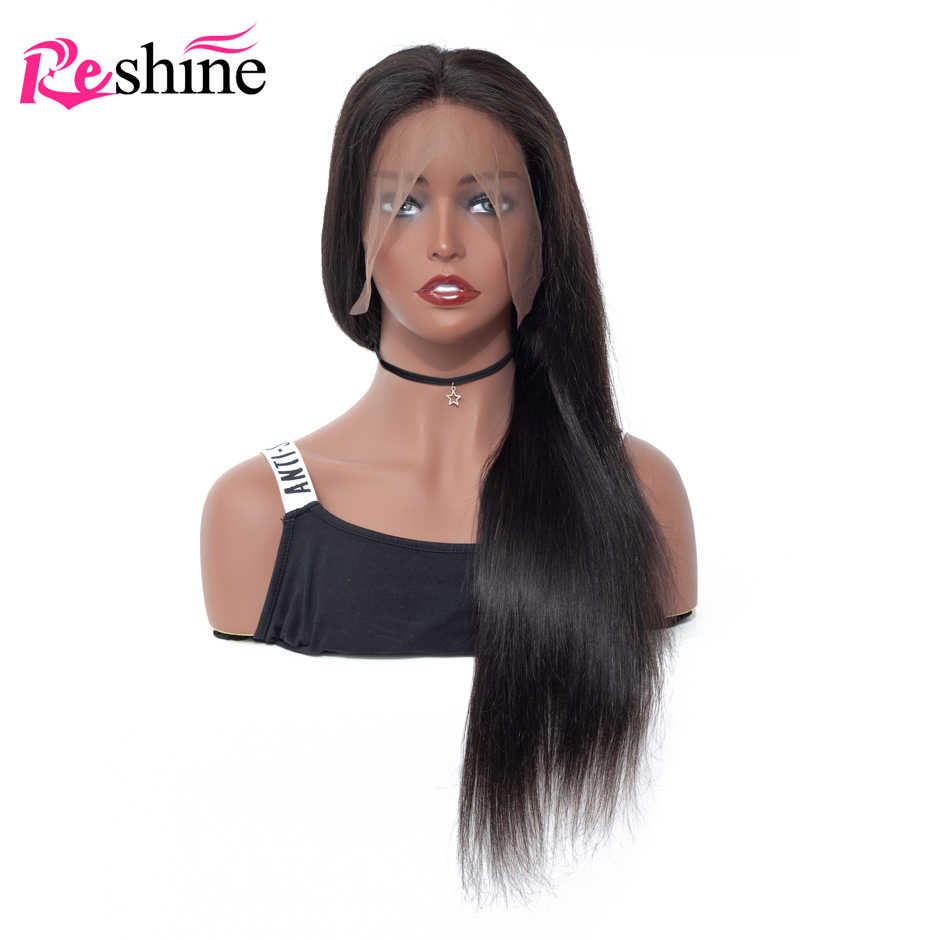 Reshine монгольские прямые человеческие волосы парик с предварительно выщипанные волосы для женщин Remy 13*4 Кружева спереди 150% плотность волос парики