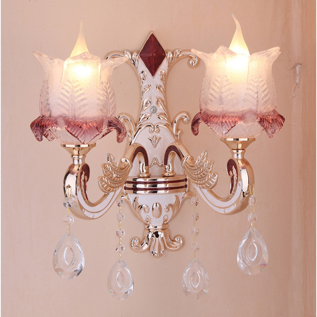 wholesale European style zinc alloy jade candle crystal wall lamp ...