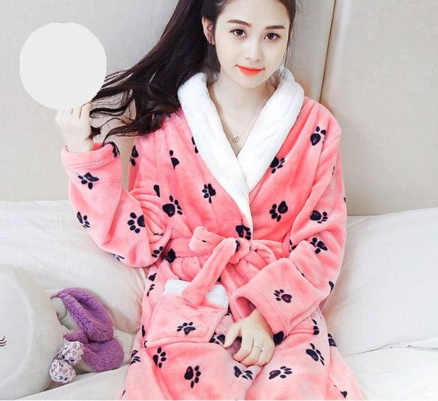 71c5412928 Women Bathrobe Winter Robe Loose Long Sleeves Coral Fleece Bathrobes Spa  Shawl Girls Pajama Nightdress Sleep Dress
