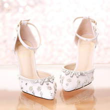 Women's Elegant Closed Toe High Heel Stiletto Sandals White Crystal Wedding Shoes For Bride 7cm 9cm