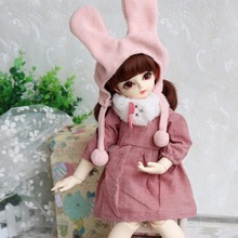 Subcluster  3 Pcs/Set Lovely Pink Dress Rabbit Scarf Hat Suit Clothes for 1/4 SD.DD BJD Blyth doll new arrival 1 4 1 6 msd yosd lati bjd suit clothes lovely pink dress rabbit scarf hat bag