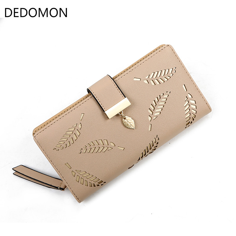 Hollow Out leaf Women Wallet long HASP PU leather women purse korean style ladies wallet clutch beautiful 2018 card holder punk style pure color hollow out ring for women