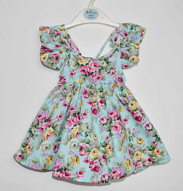 8f7028ef5467 ... 2018 Summer Baby Girls Dress Brand Beach Style Floral Print Party  Backless Dresses Kids Flutter Sleeve