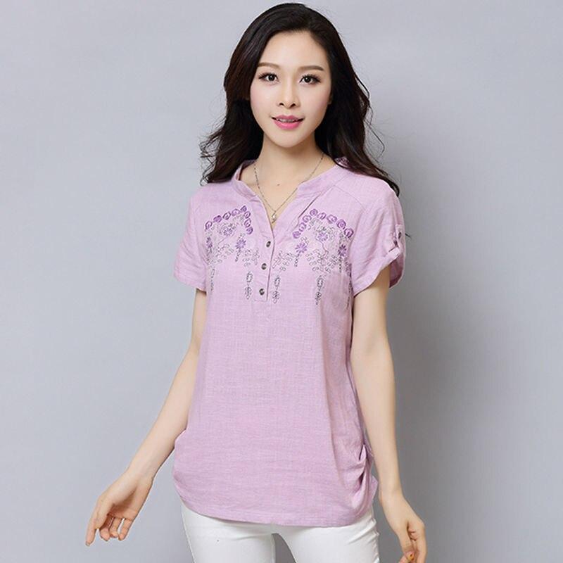Mujer camisas blusa de lino bordado manga corta modelo