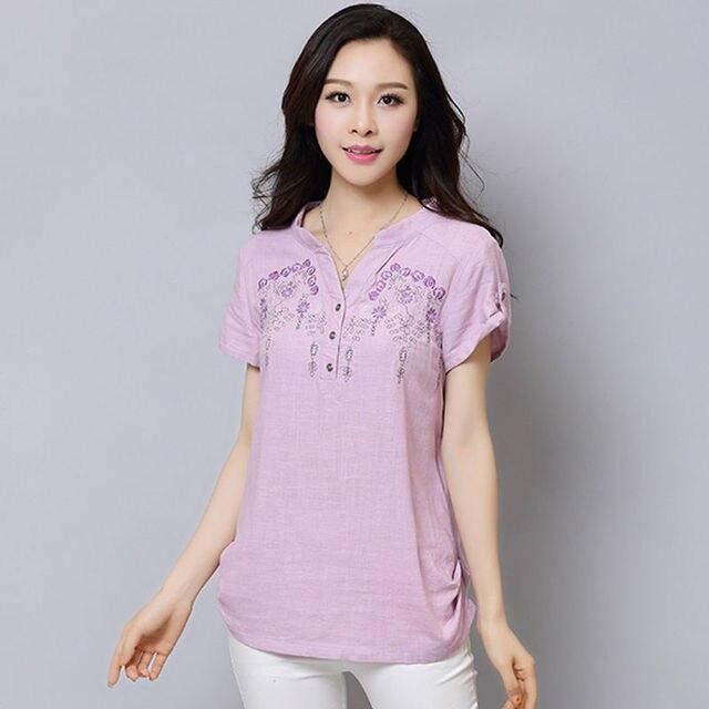 604a87f2b694 € 36.03 |Mujer camisas blusa de lino bordado manga corta modelo mujeres  blusas summer tops plus tamaño ropa casual shirts femme WD487 en Blusas y  ...