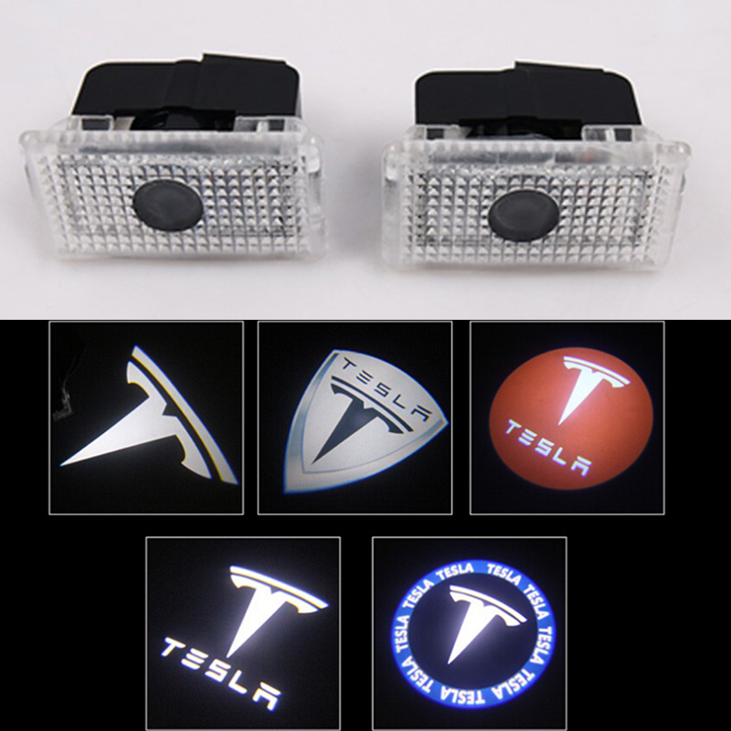 цена на 2pcs/lot Car LED Courtesy ghost shadow welcome light Laser logo projector door lamp For Tesla MODEL S MODEL X MODEL 3 MODEL Y