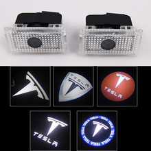 2pcs/lot Car LED Courtesy ghost shadow welcome light Laser logo projector door lamp For Tesla MODEL S X 3 Y