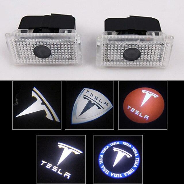 2pcs/lot Car LED Courtesy ghost shadow welcome light Laser logo projector door lamp For Tesla MODEL S MODEL X MODEL 3 MODEL Y