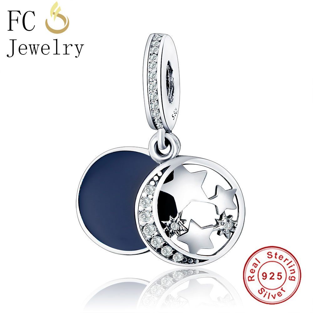 Authentic Shimmering Midnight Blue Enamel Vintage Night Sky CZ Bracelet Charms