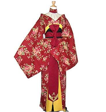 Rosa Chinensis rouge tissu uniforme japonais Kimono femmes Costume