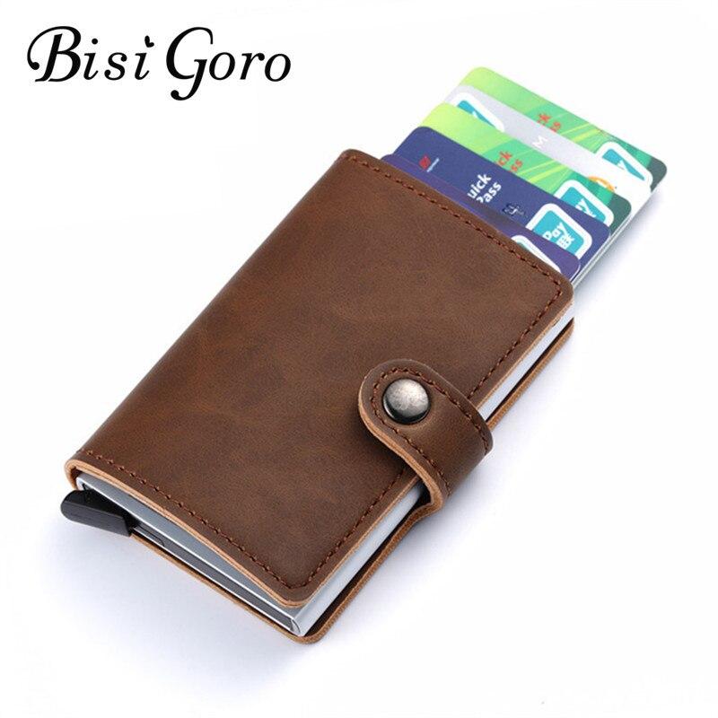 BISI GORO 2018 hombres y mujeres titular de la tarjeta de crédito de una sola caja de cuero de la Pu Mini Vintage seguro de aluminio antimagnético tarjeta monedero caso