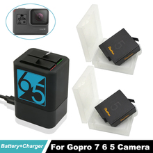 2x Hero7 1600mAh Rechargeable Battery + USB Hero5 Dual Battery Charger For GoPro 5 Black Go Pro Hero6 Action Camera Accessories