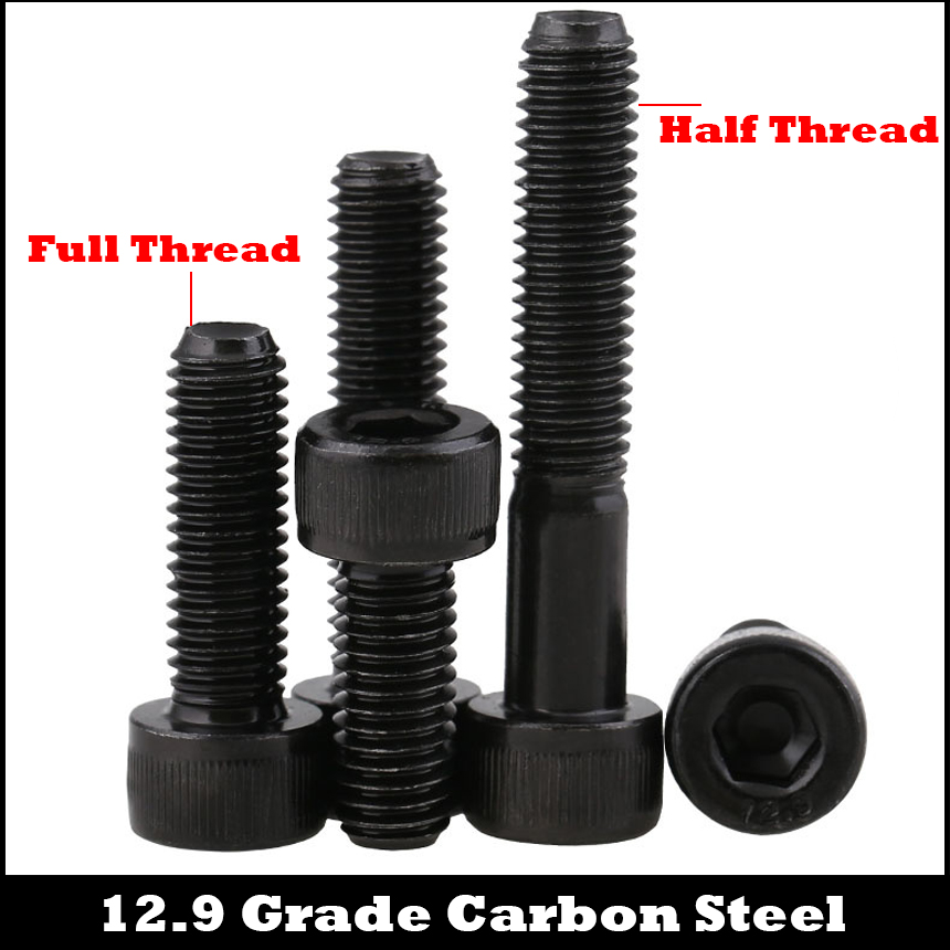 M3 M3*22/25/28/30 M3x22/25/28/30 12.9 Grade Black Carbon Steel Full Thread DIN912 Cap Cup Allen Head Bolt Hexagon Socket Screw 25 3