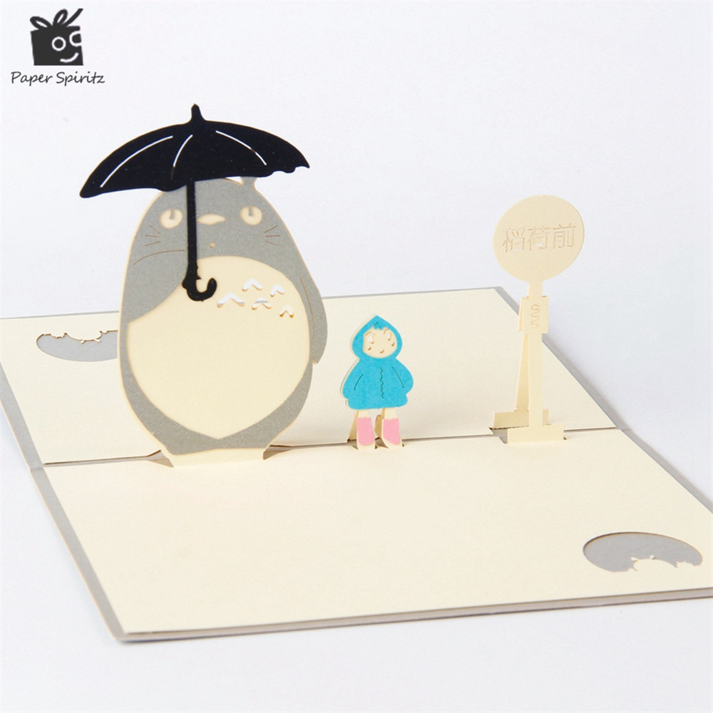 Anime Totoro 3d Laser Cut Pop Up Paper Holiday Handmade Happy