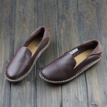 2015 Mori Girl Flat Shoes Hand-sewed Genuine Lether Coffee Step in Loafers Ladies Moccasin Shoes (568-2)