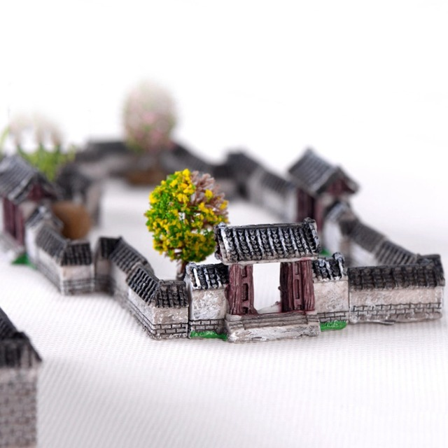Ancient House Archway Micro Landscape Mini Old City Gate Resin DIY Decor Ornaments Crafts Fairy Garden Bonsai Home Decoration 5