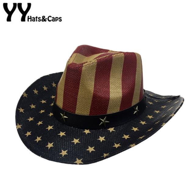 Special American Flag Star Cowboy Hat For Men Summer Beach CAP Wide Brim  Straw Cowboy Western a237a39899c