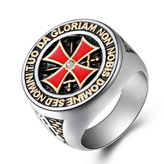 8145 Size Latest Fashion Mens 316l Stainless Steel Signet Red Cross