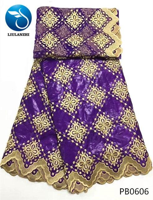 LIULANZHI Tím bazin vải Châu Phi Riche vải với hạt broderie thêu voan ren cho đám cưới 7 thước/Bộ PB06