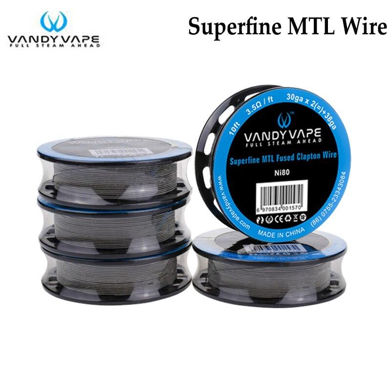 D'origine Vandy Vape Superfine MTL Fusionné Clapton Fil Ni80 30ga x 2 + 38ga 10ft/SS316L30ga X 2 + 38ga 10ft Ajustement E-cigs MTL RTA RDA