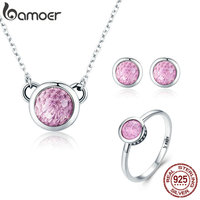 BAMOER Authentic 100 925 Sterling Silver Pink CZ Round Shape Party Ring Necklace Jewelry Set Sterling