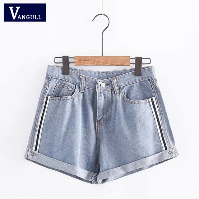Women Fashion Side Stripe Denim Shorts Ladies Elegant Crimping Pockets Jeans Shorts Street Wear Sexy Shorts Summer VANGULL 2018
