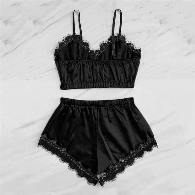 Lingerie Sexy Bra Set Women's Sleepwear Sleeveless Strap Lace Trim Satin Cami Tops Pajama Sets Bras Women Brief Sets 661BRS10 1