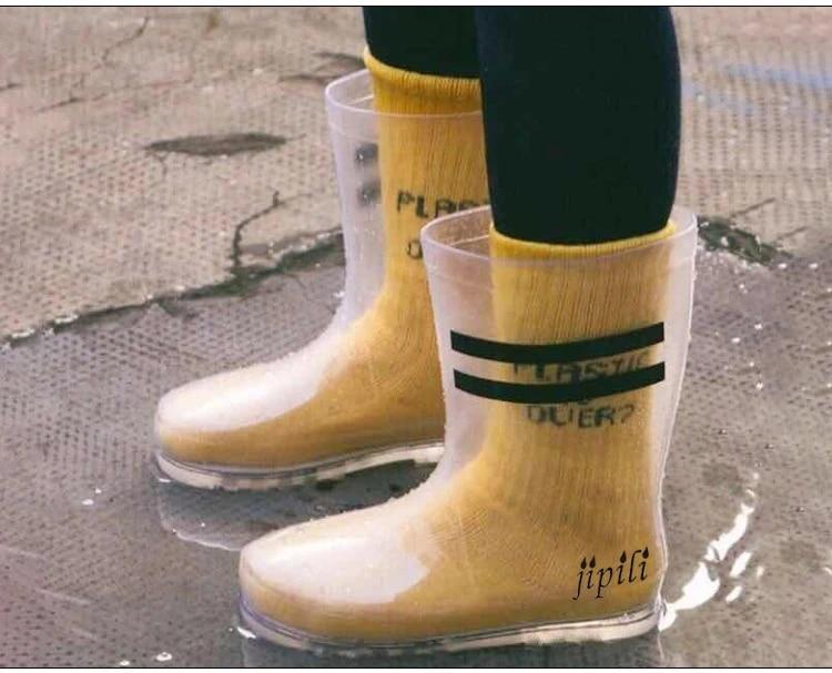 bottes de pluie transparentes a hauteur de genou pour femmes chaussettes a talons plats et plate forme chaussures de randonnee impermeables en pvc
