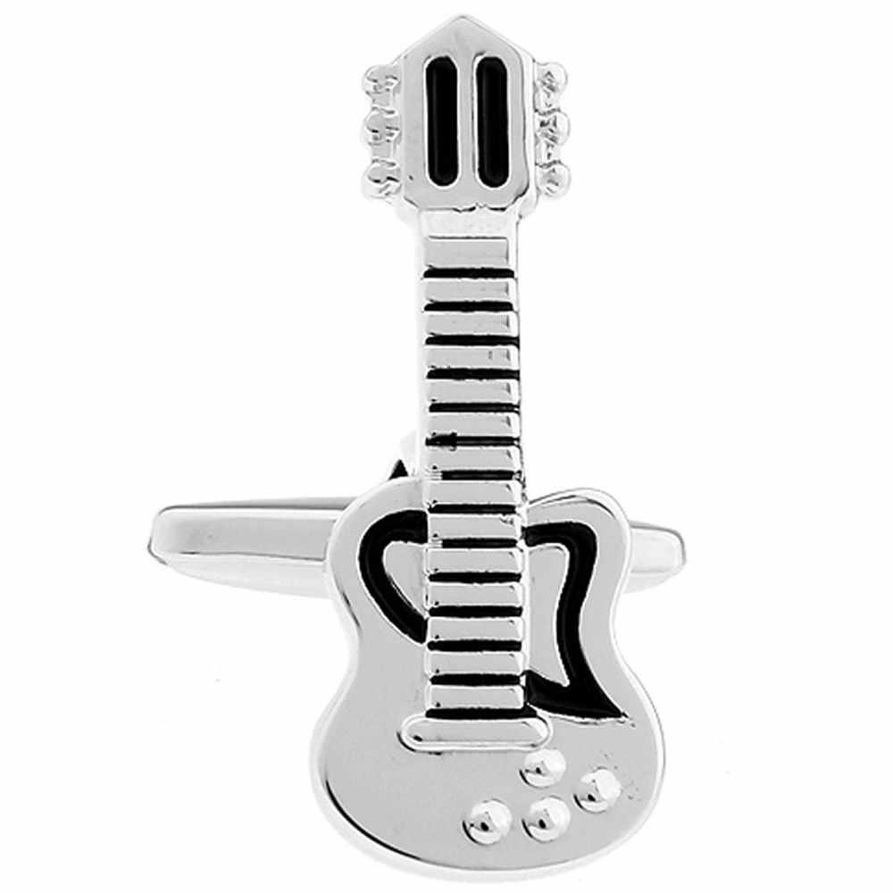 Way Deng-модная черная эмалированная Серебряная медная запонки «гитара» мужская рубашка-смокинг манжеты кнопки-звенья ювелирные изделия подарок-YC075