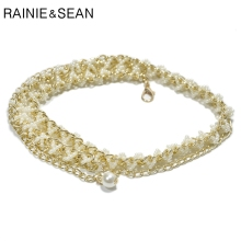 RAINIE SEAN Pearl Chain Belt Gold Hook Buckle Women Thin Belts Narrow Elegant High Waist Ladies Designer Wedding Female