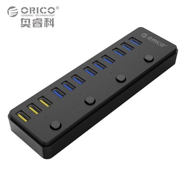ORICO 60 W 12 Portas USB 3.0 Hub incluindo 3 BC1.2 Cobrando Porto e 4 Interruptores de Energia Indicadores LED (P12-U3)