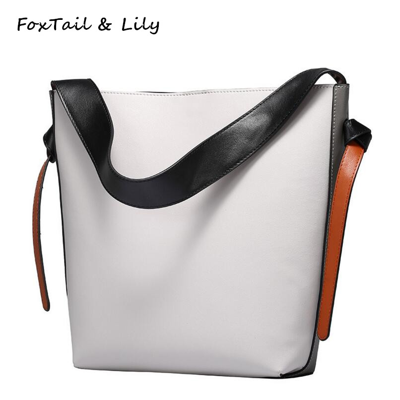 FoxTail & Lily Luxury Quality Bucket Handbag Large Capacity Ladies Leather Shopping Bag Famous Designer Women Shoulder Bags