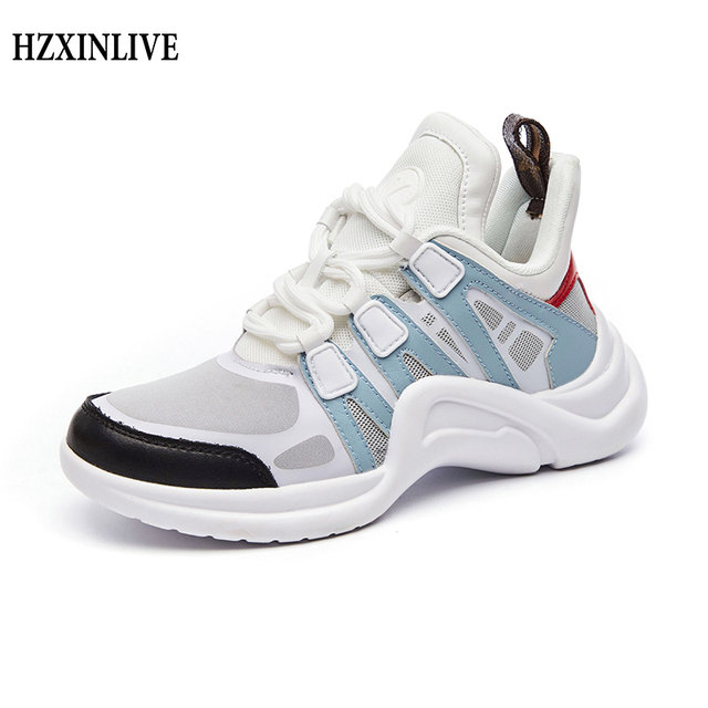 HZXINLIVE Women Sneakers 2019 Casual Breathable Mesh Chunky Shoes Female Fashion Sneaker Lace Up New Vulcanize Shoe Platform