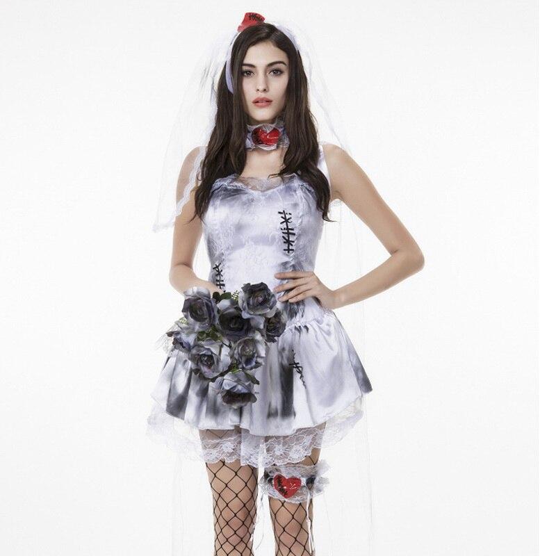 Bloody Mary Corpse Bride Ghost Vampire White Cosplay Costume Dress ...