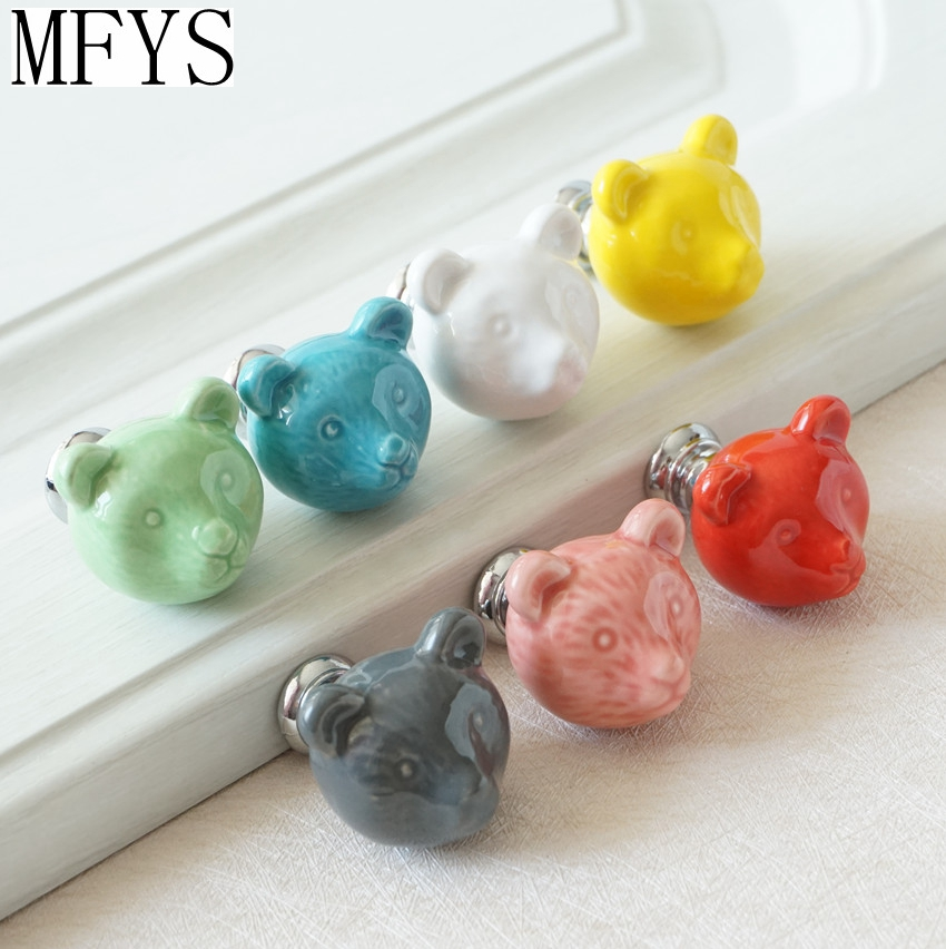 Ceramic Bear Knobs Drawer Knobs Colorful Knobs For Children Dresser Cabinet  Knobs Blue Red Pink Kitchen