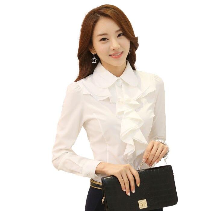 4dce5668b9aed جديد 2016 الكورية نمط مكتب العمل ارتداء أزياء أنيقة الكشكشة كم طويل المرأة بلوزة  بيضاء أسود الجسم قميص السيدات S2189