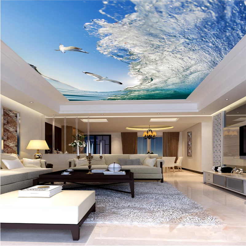 papel de parede 3d Home Decoration 3d wallpaper Surf seagull ceiling zenith wallpaper Living room ceiling mural beibehang